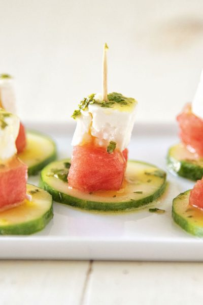 Cucumber Watermelon Feta Mint Bites