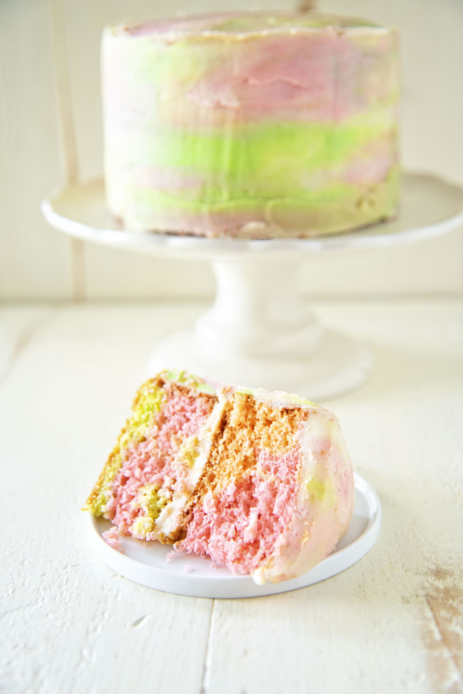Rainbow Sherbet Layer Cake