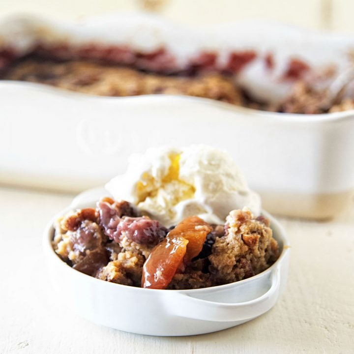 Peach Blackberry Oatmeal Cookie Cobbler