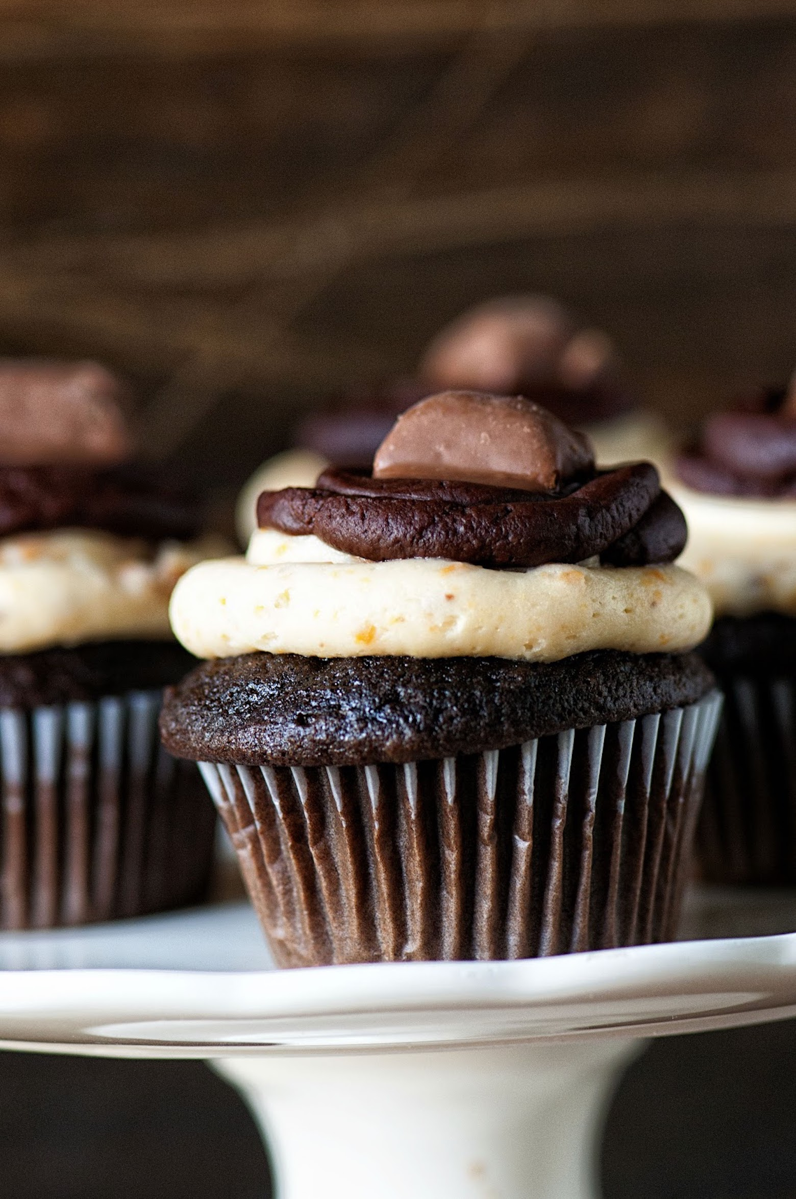 Dark Chocolate Butterfinger Cupcakes