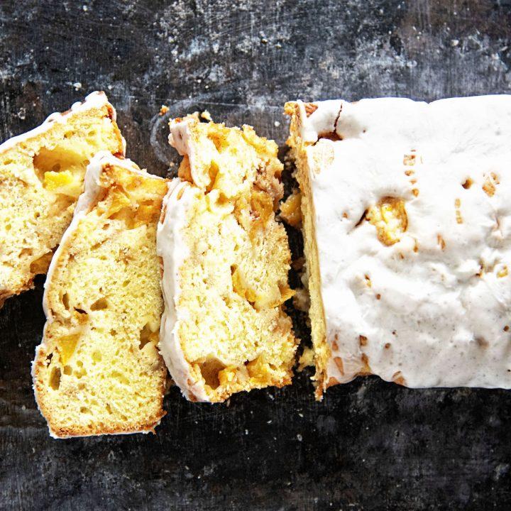 Glazed Peach Fritter Bread