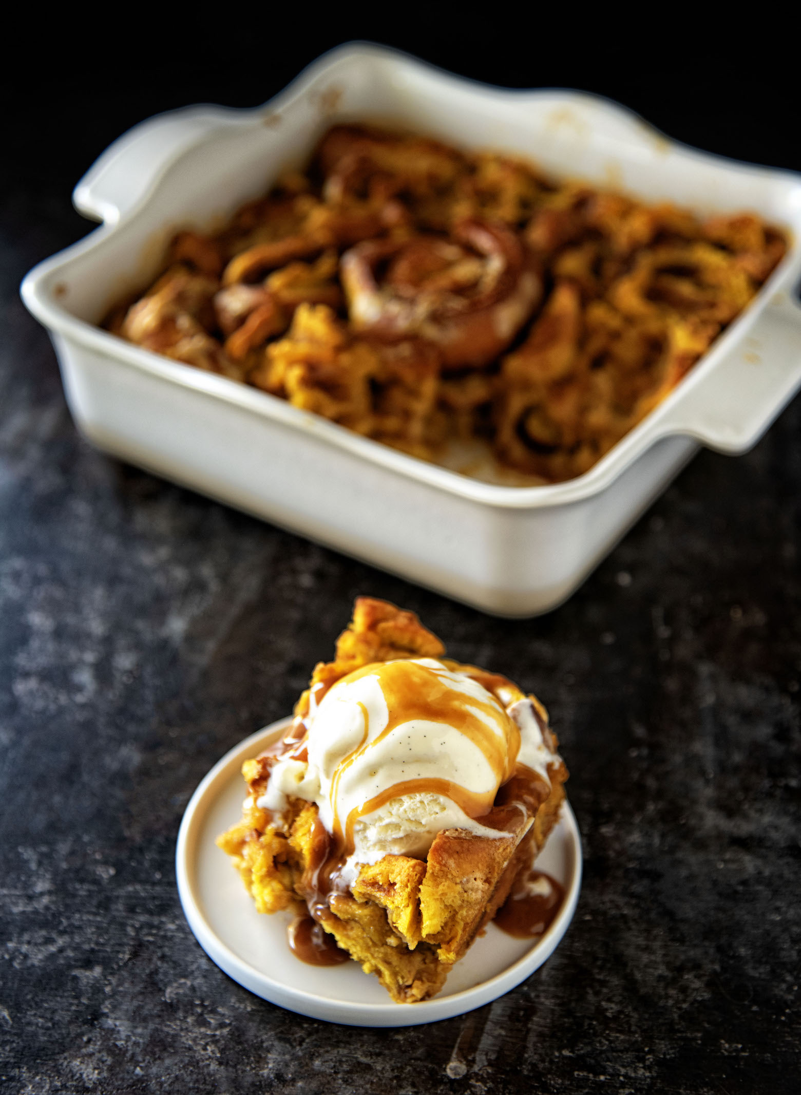 Pumpkin Cinnamon Roll Bread Pudding