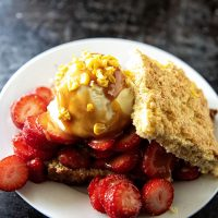 Sweet Corn Strawberry Cornbread Shortcake