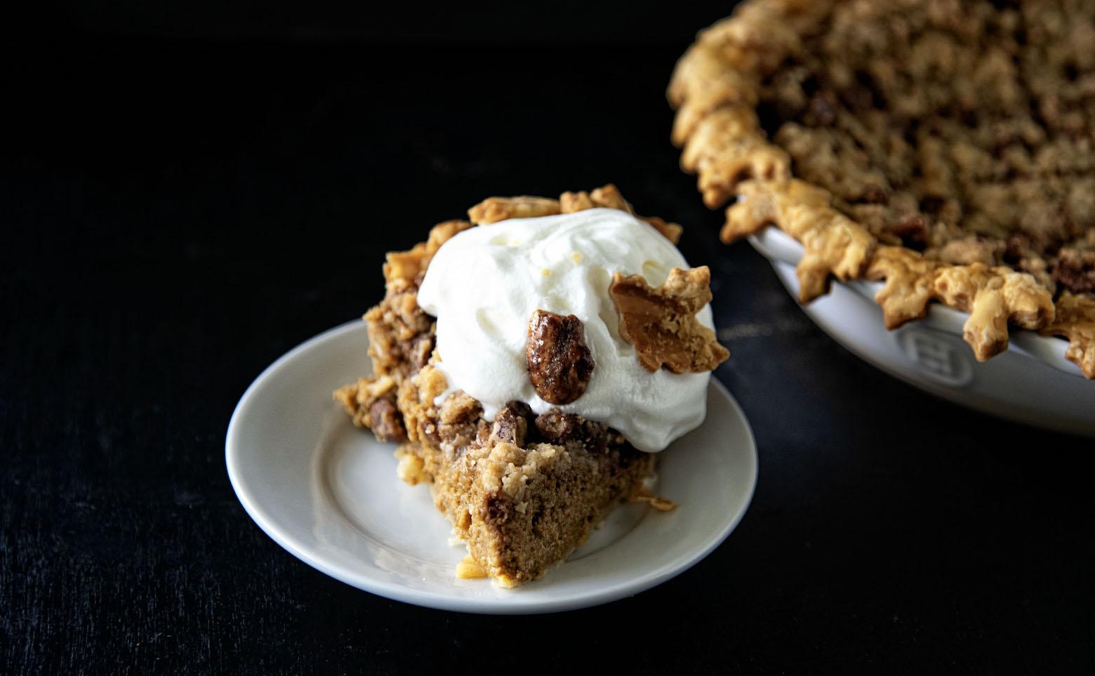 Butter Toffee Pecan Crumb Pumpkin Pie