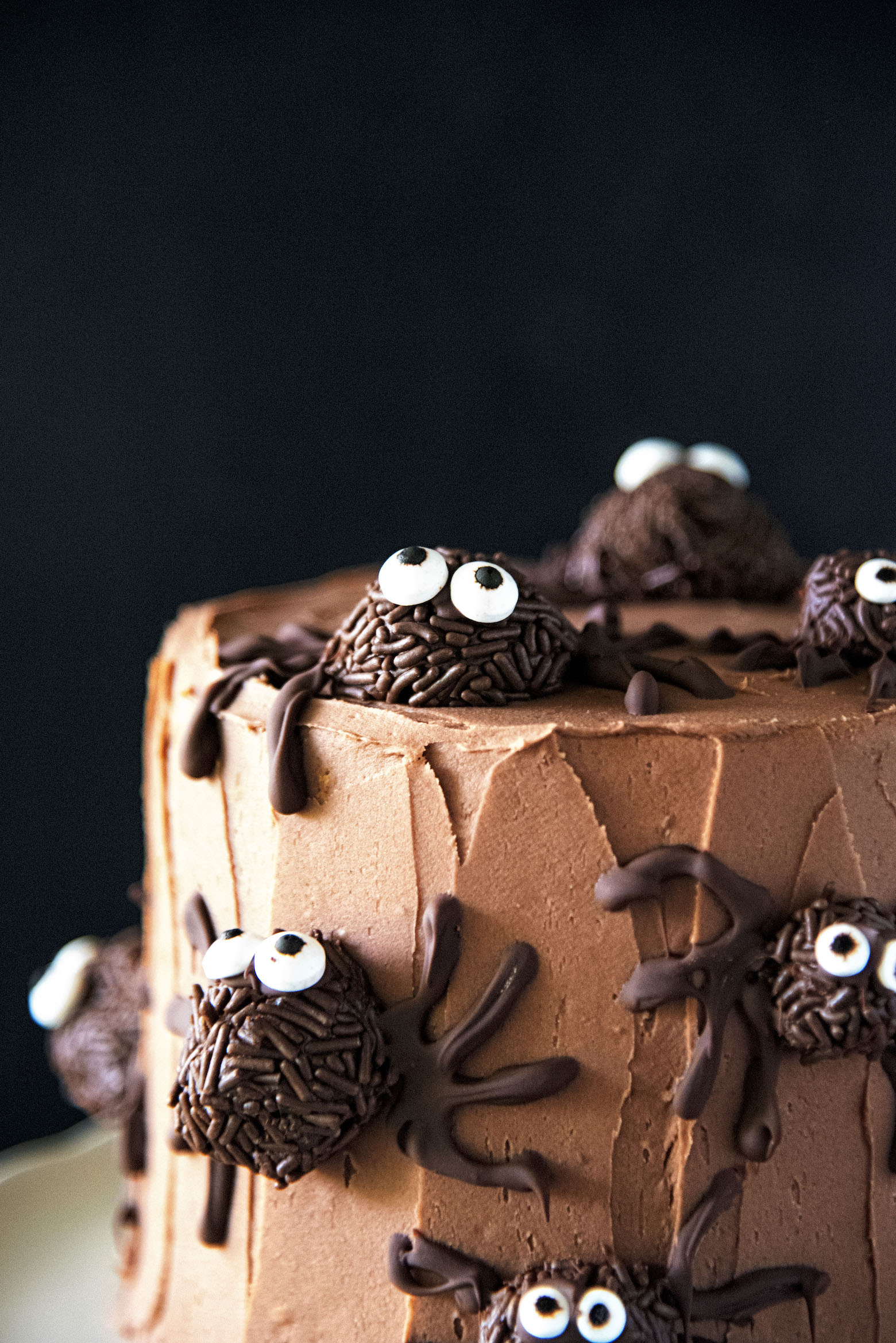 Chocolate Truffle Pumpkin Spider Cake