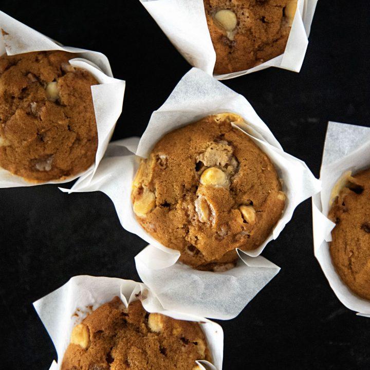 Toffee White Chocolate Pumpkin Muffins