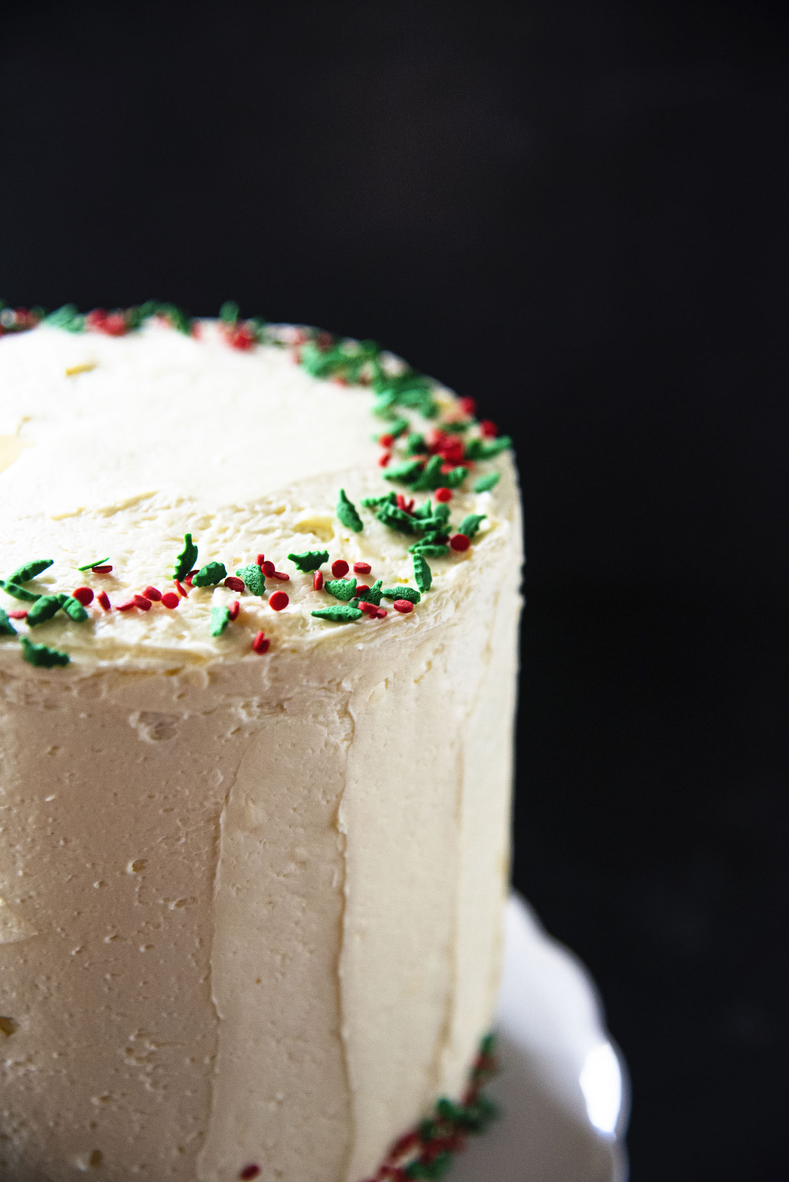 Bourbon Eggnog White Chocolate Cake