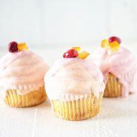 White Chocolate Dipped Orange Cranberry Cupcakes