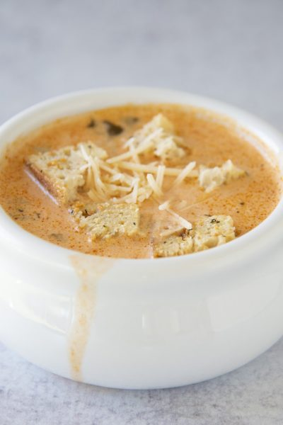 Creamy Tomato Spinach Orzo Soup