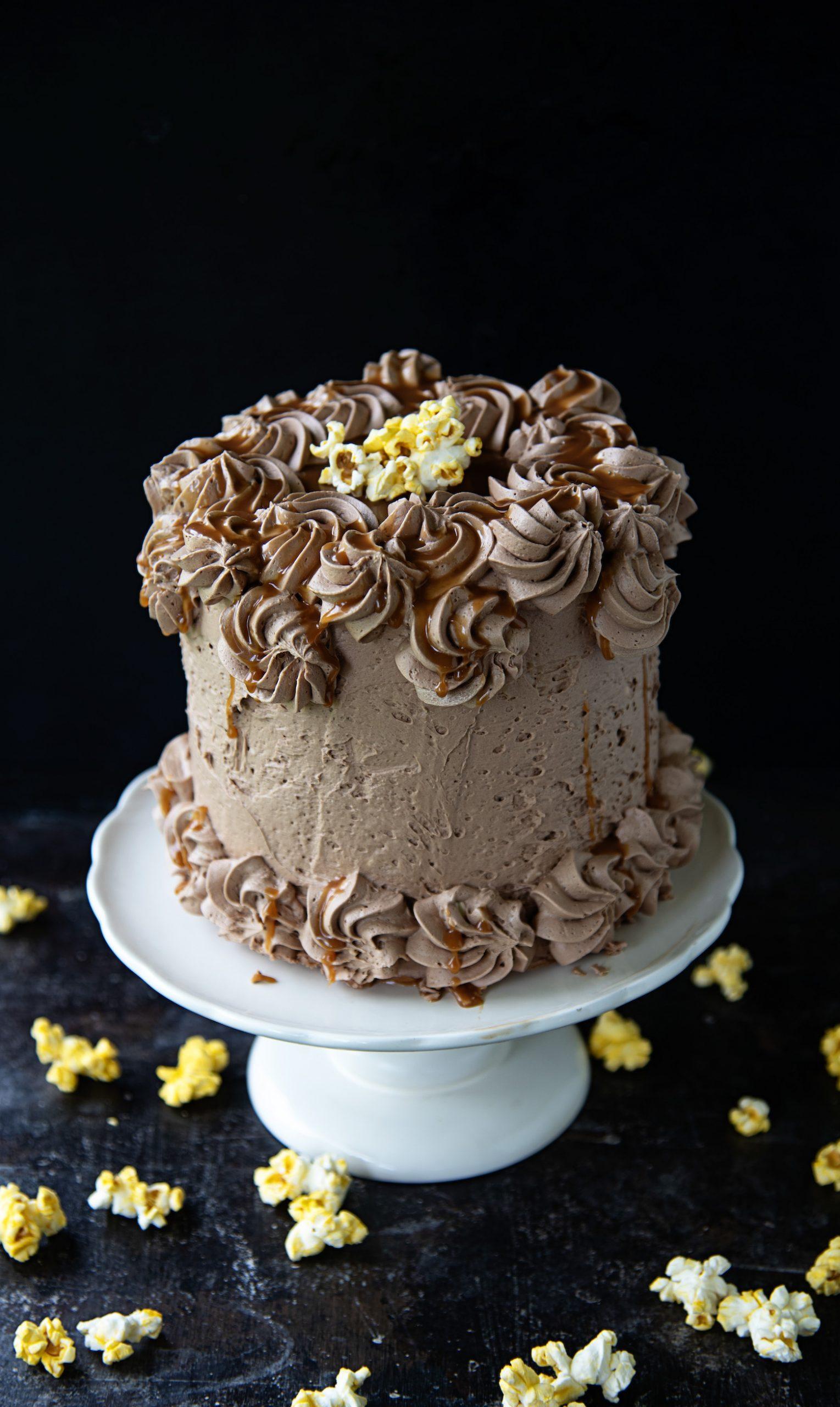Chocolate Salted Caramel Popcorn Cake