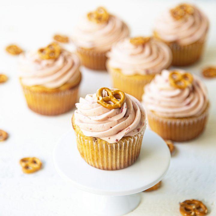 Strawberry Pretzel Cream Cheese Cupcakes