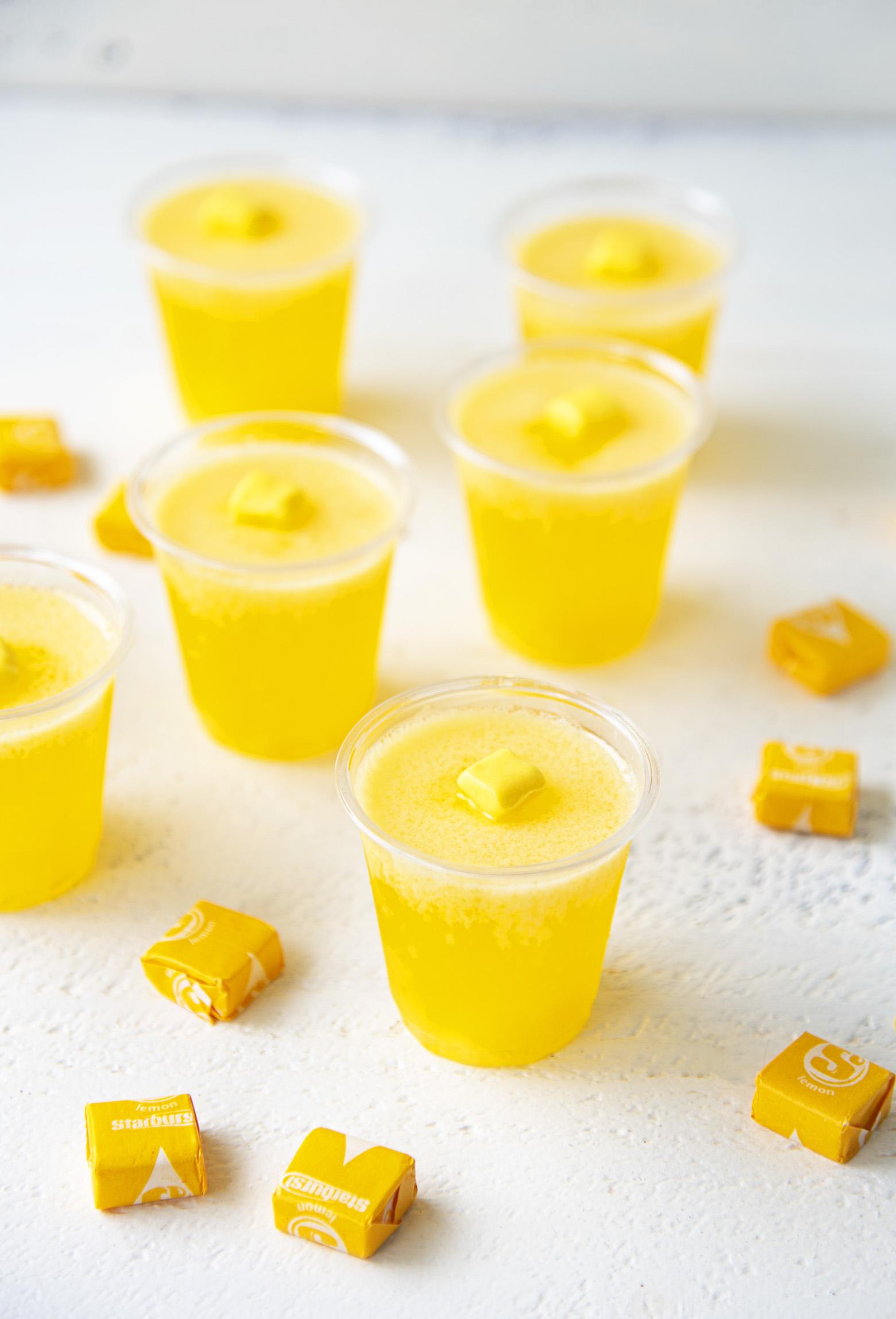 Yellow Starburst Jell-O Shots