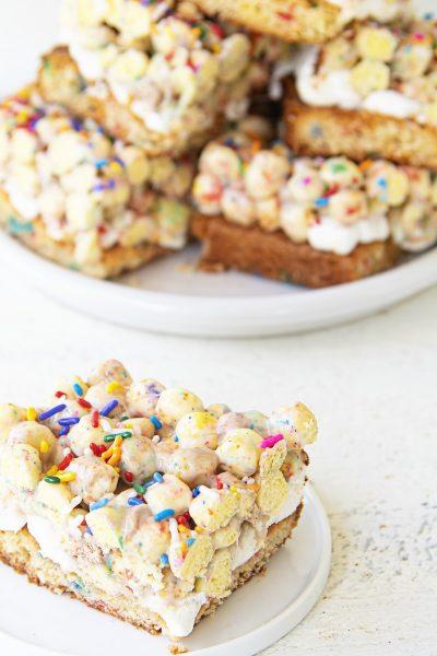 Birthday Cake Batter Cereal Blondies