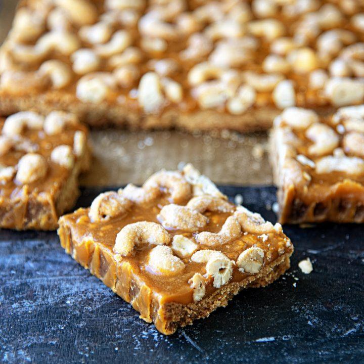 Butterscotch Honey Roasted Cashew Bars