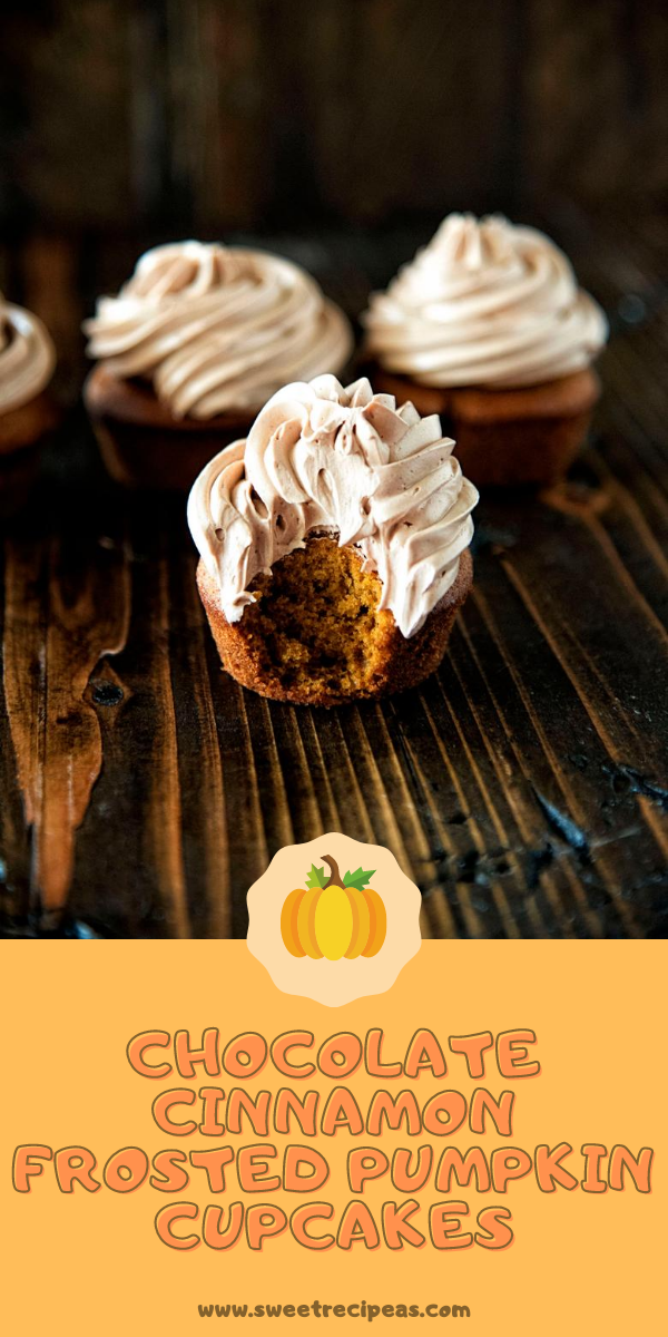 Chocolate Cinnamon Frosted Pumpkin Cupcakes