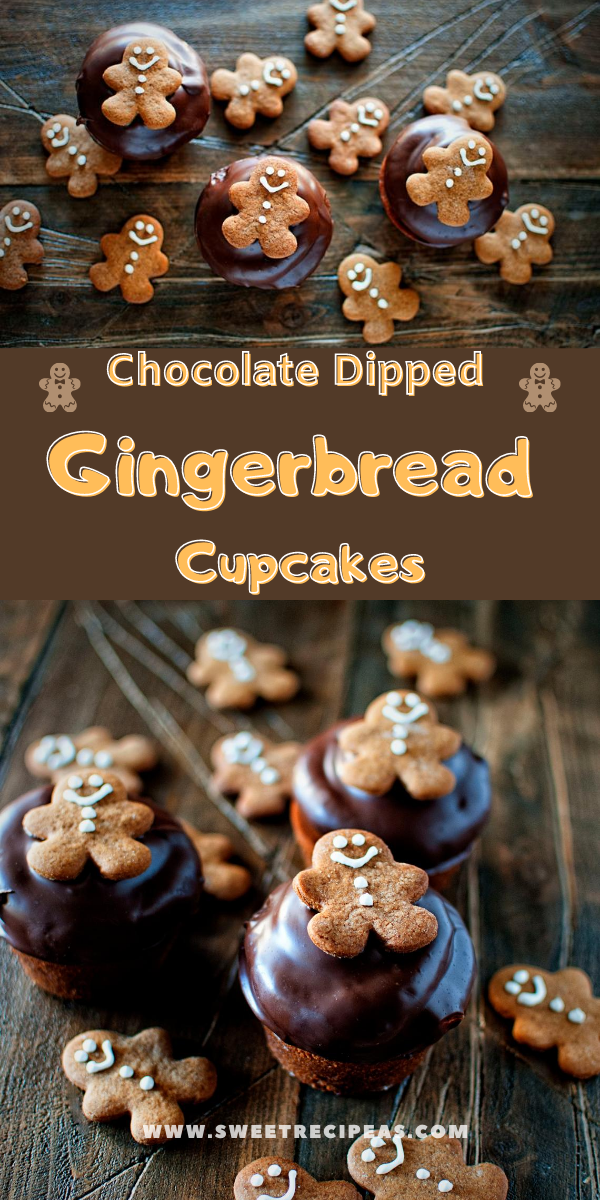 Chocolate Dipped Gingerbread Cupcakes