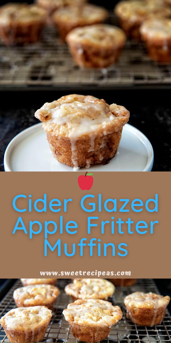 Cider Glazed Apple Fritter Muffins