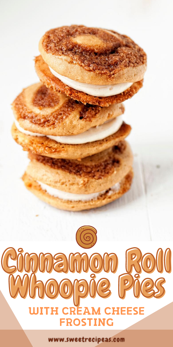 Cinnamon Roll Whoopie Pies with Cream Cheese Frosting