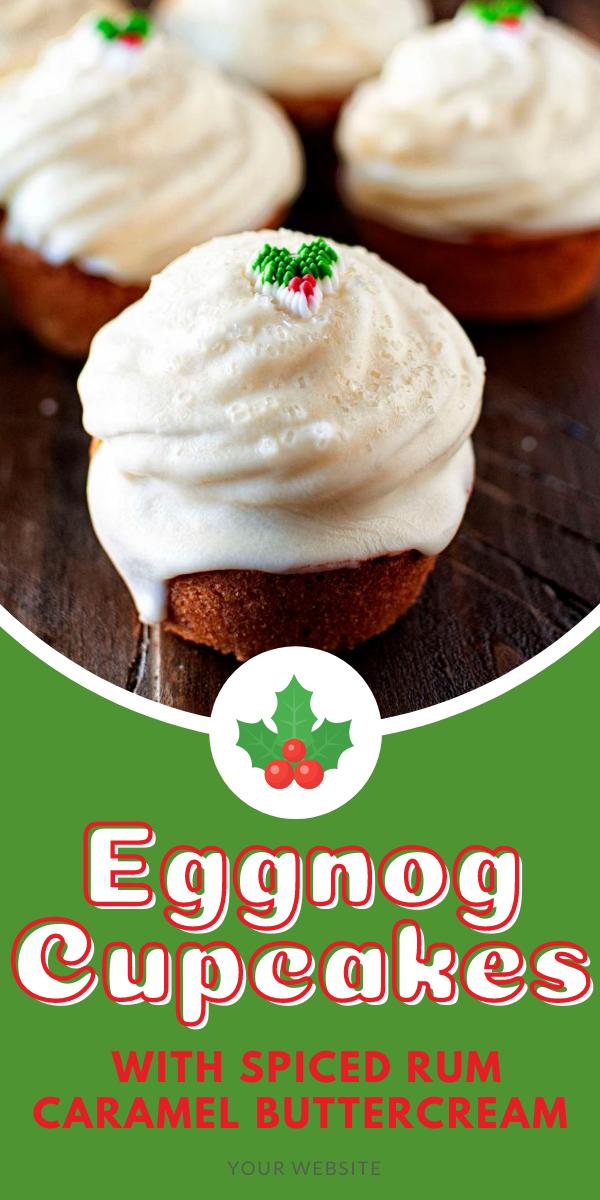 Eggnog Cupcake with Spiced Rum Caramel Buttercream