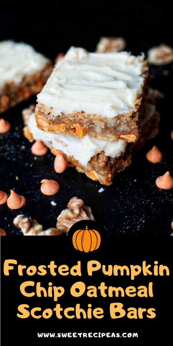 Frosted Pumpkin Chip Oatmeal Scotchie Bars