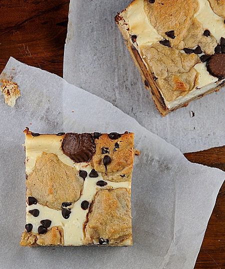 Peanut Butter Cup Peanut Butter Chocolate Chip Cookie Dough Cheesecake Bars