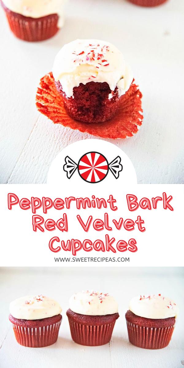 Peppermint Bark Red Velvet Cupcakes
