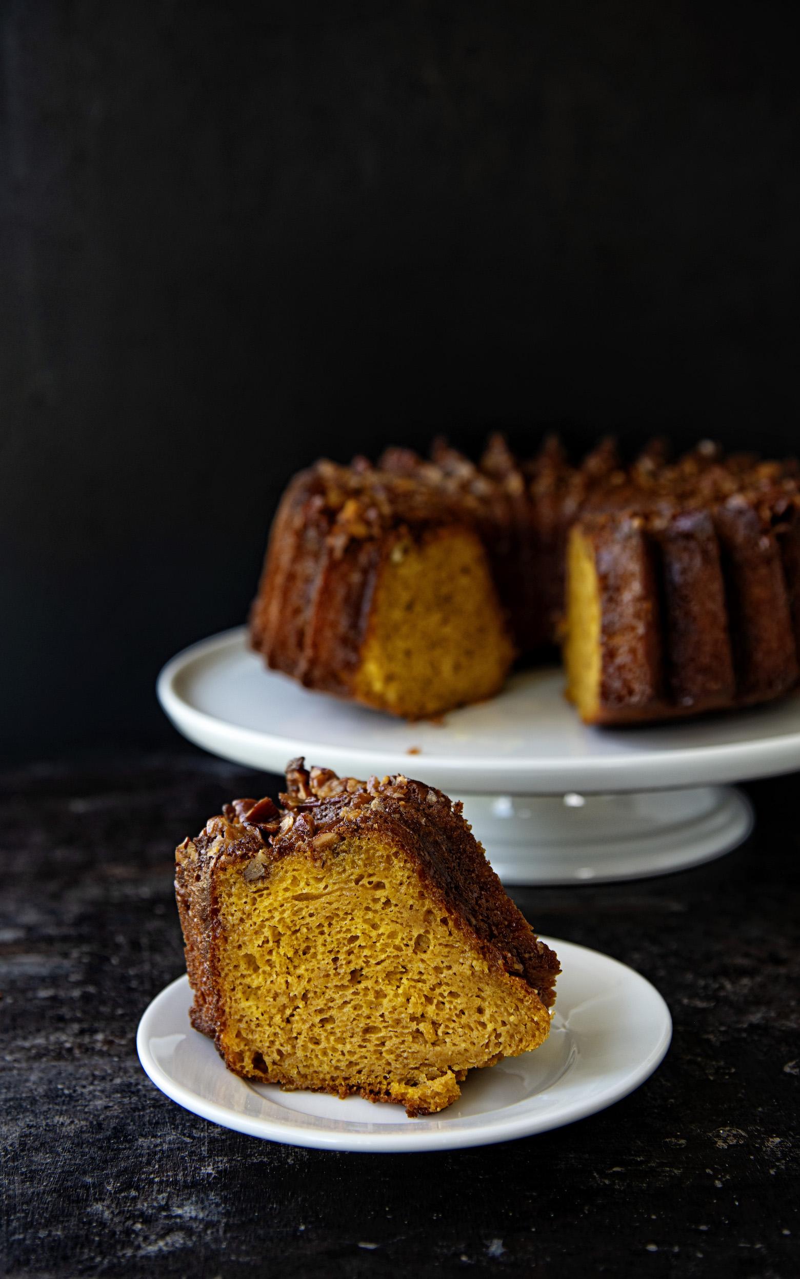 Spiced Rum Pumpkin Pecan Cake