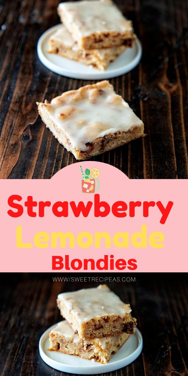 Strawberry Lemonade Blondies