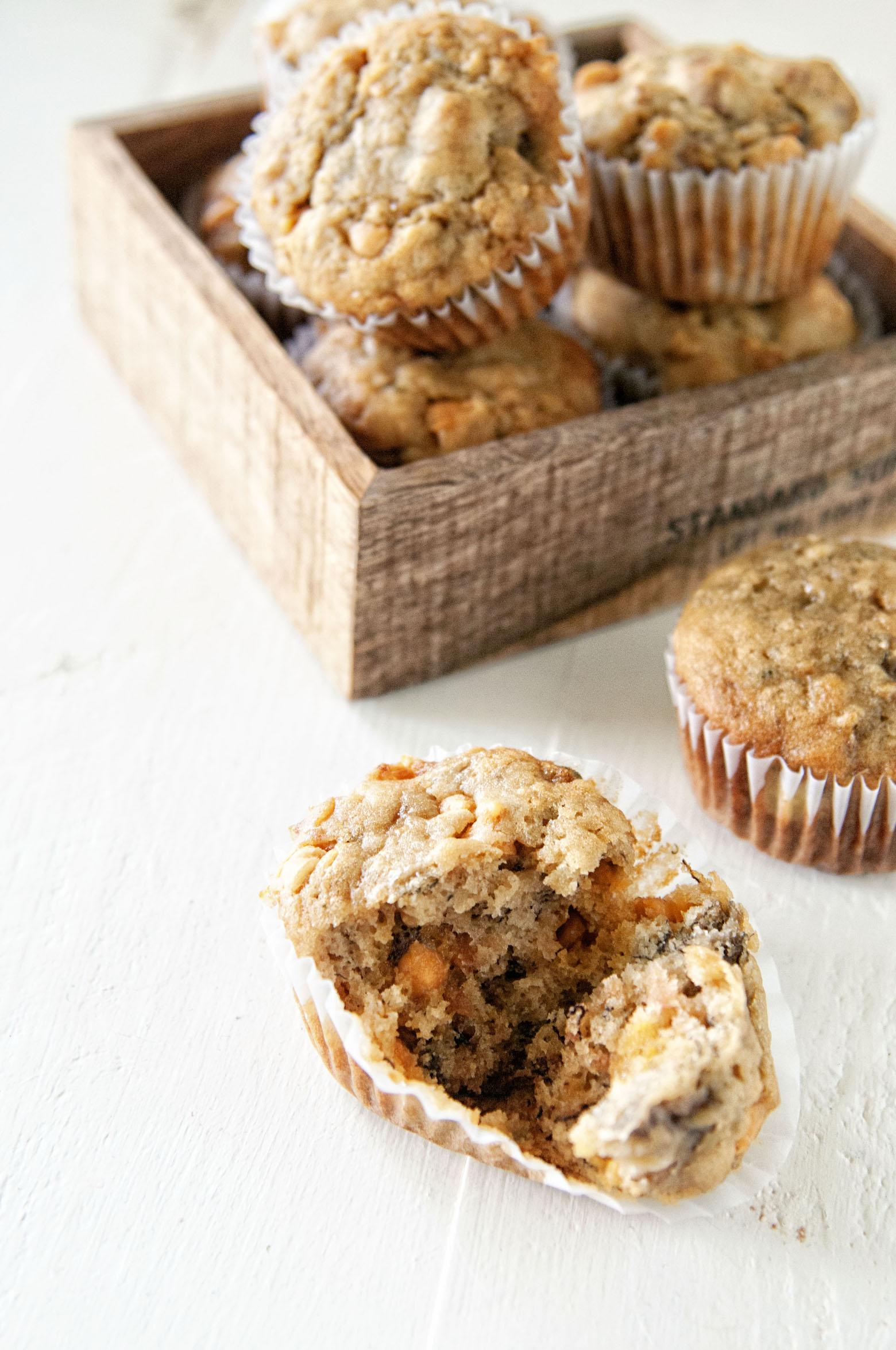 Banana Apple Butterscotch Pecan Muffins