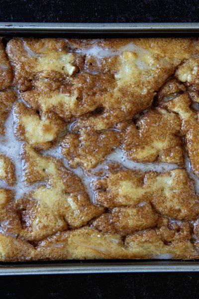Caramel Apple Cinnamon Roll Cake