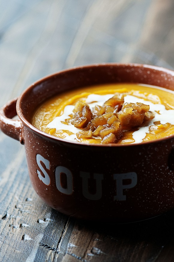 Butternut Squash Soup with Caramelized Apples and Maple Cider Cream