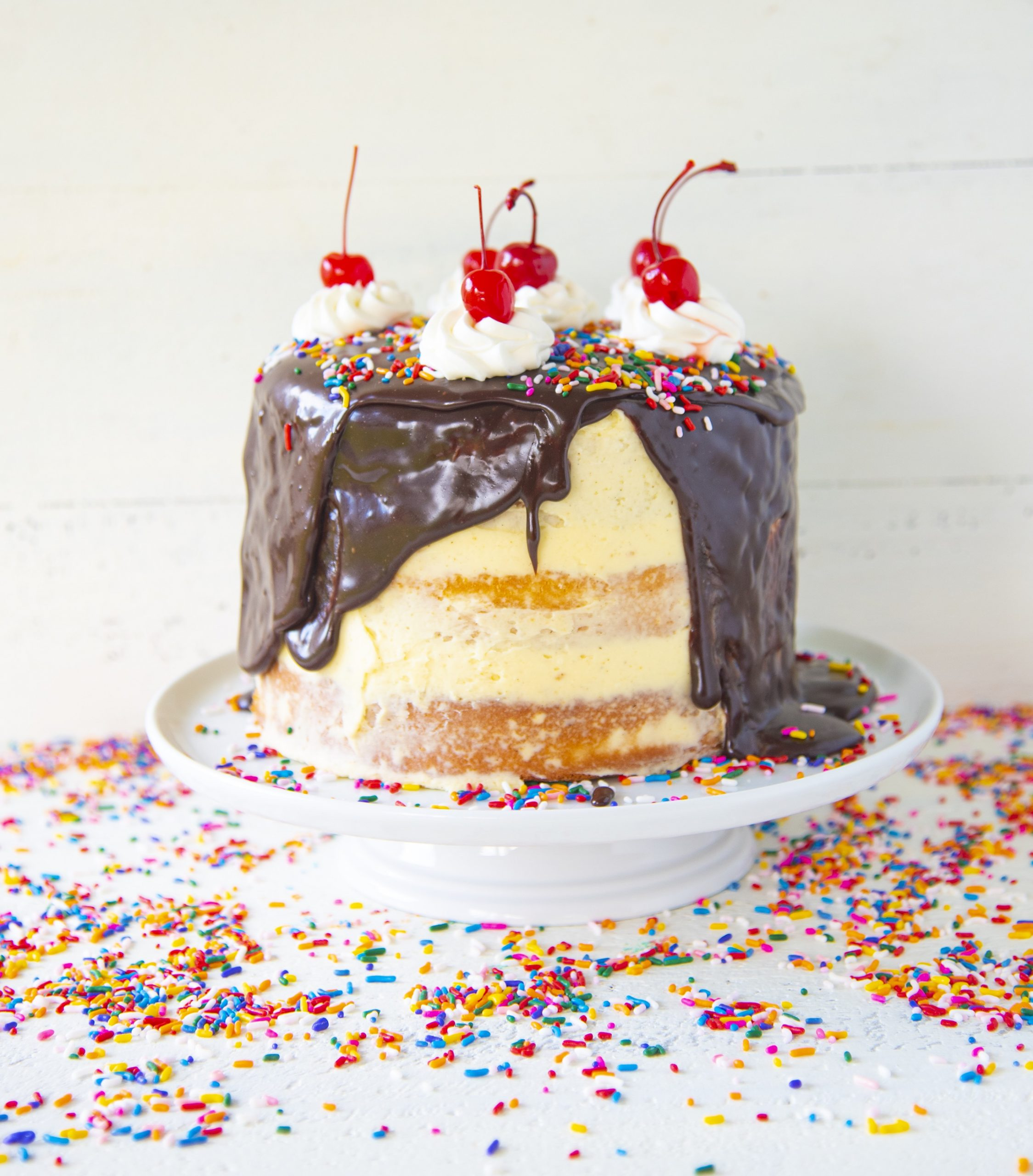 Hot Fudge Sundae Layer Cake from Holy Sweet! 60 Indulgent Recipes for Bigger Better Desserts