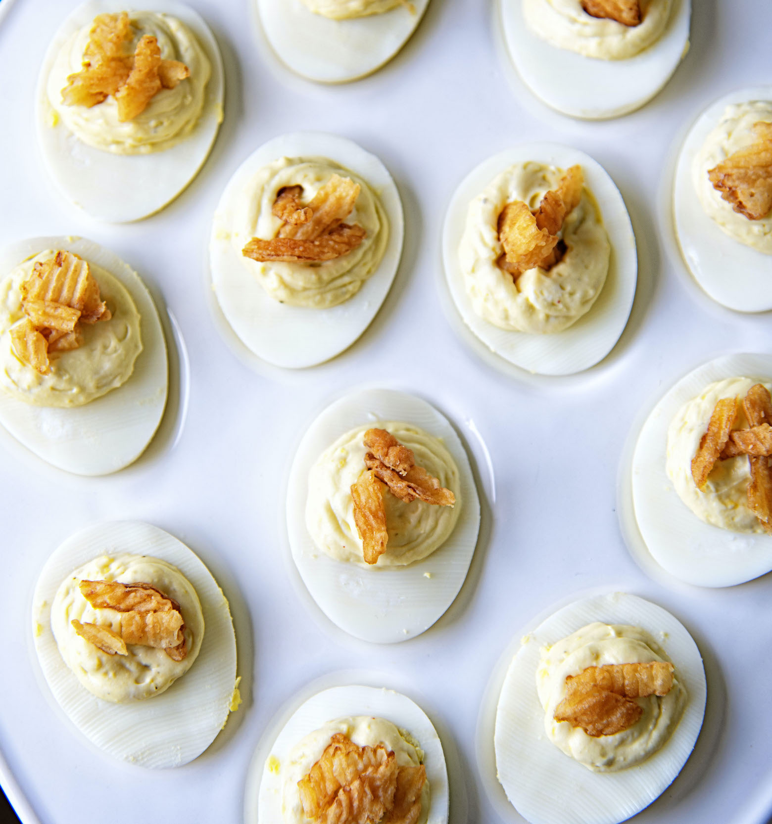 French Onion Dip Deviled Eggs