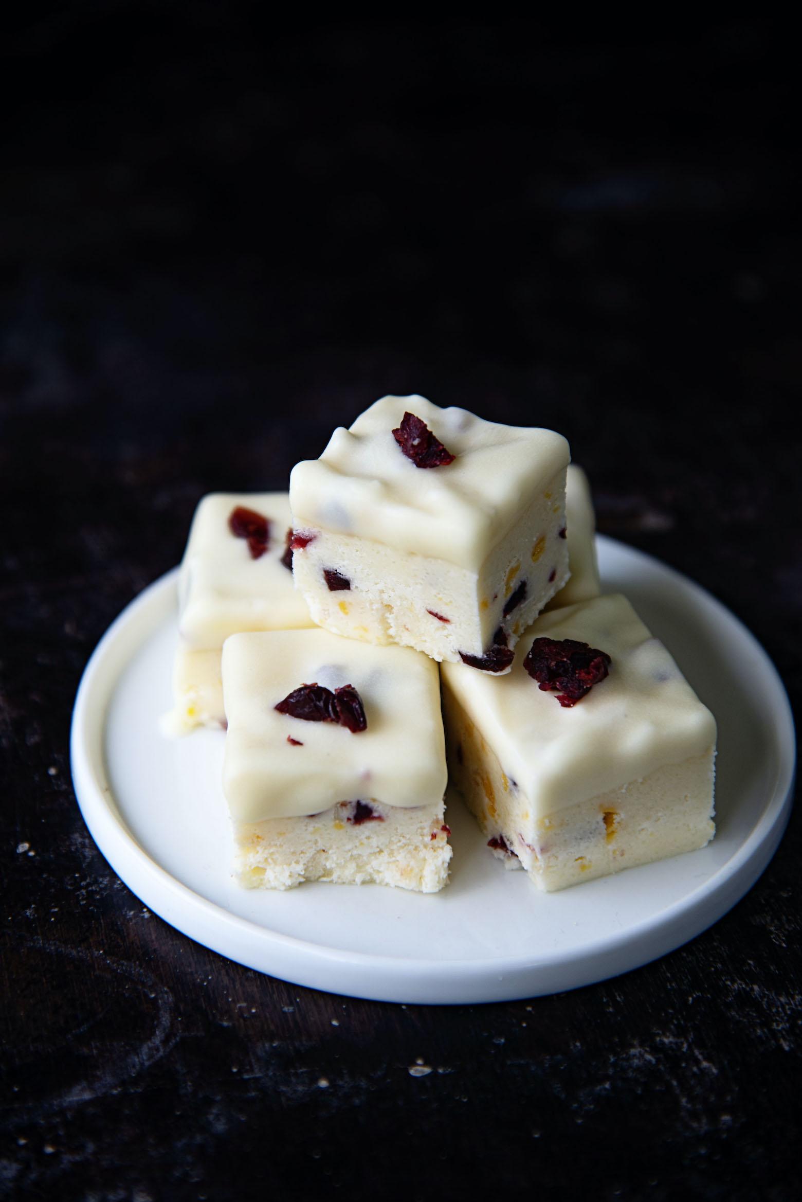 White Chocolate Dipped Orange Cranberry Fudge