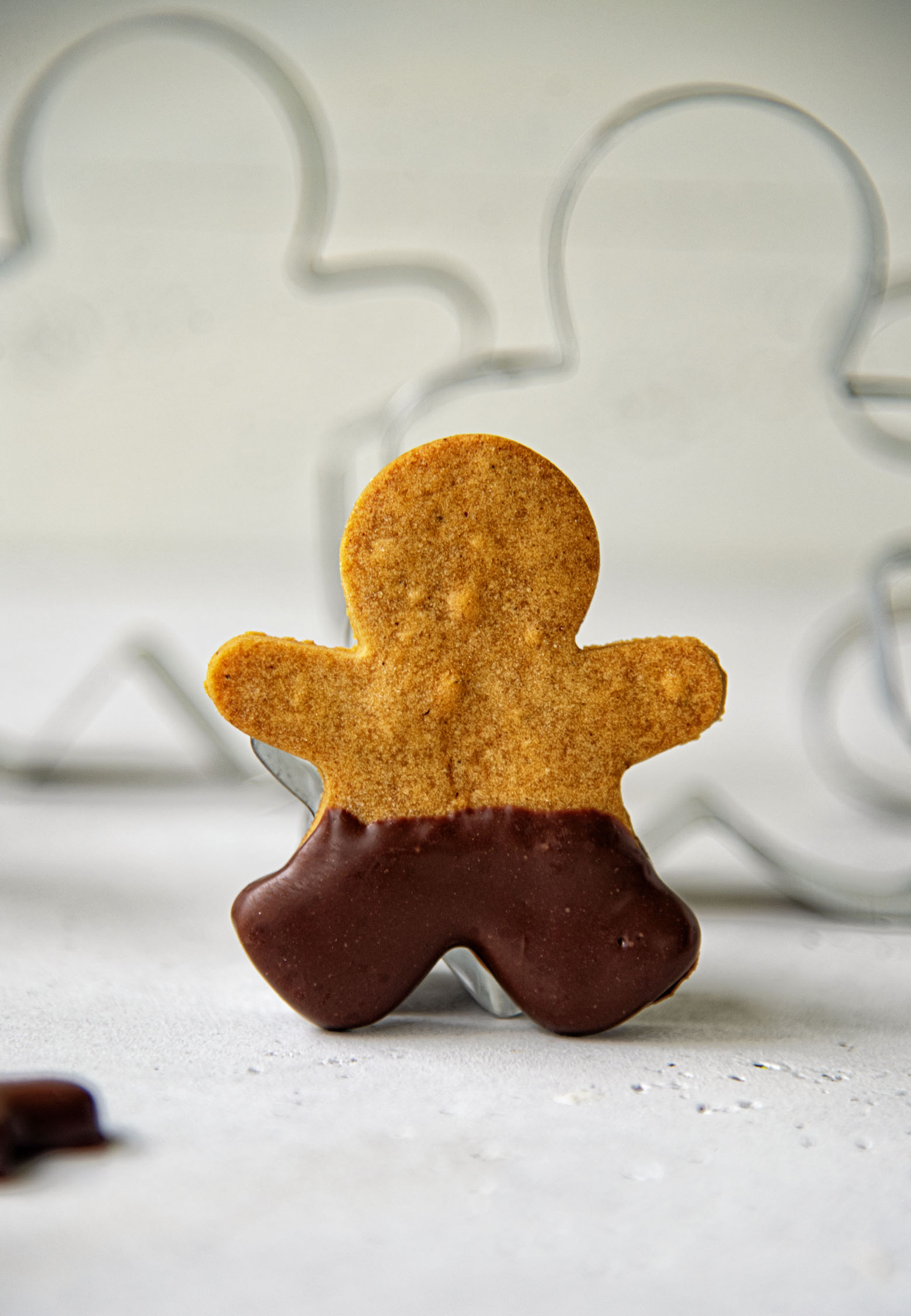 Chocolate Dipped Gingerbread Shortbread Men