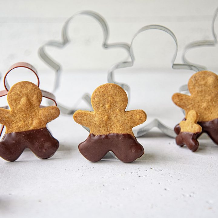 Chocolate Dipped Gingerbread Cookie Men