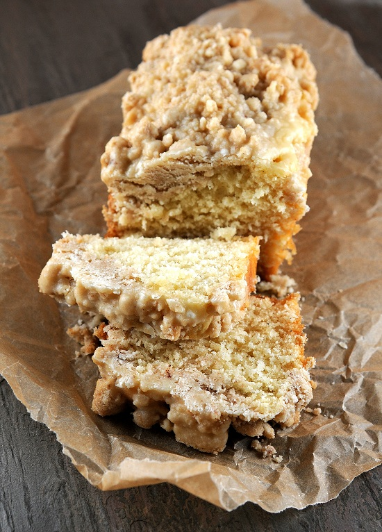 Eggnog NY Crumb Cake with Spiced Rum Glaze