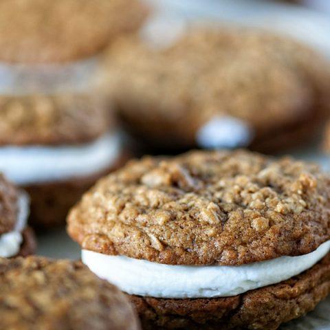 Gingerbread Oatmeal Eggnog Cream Pies