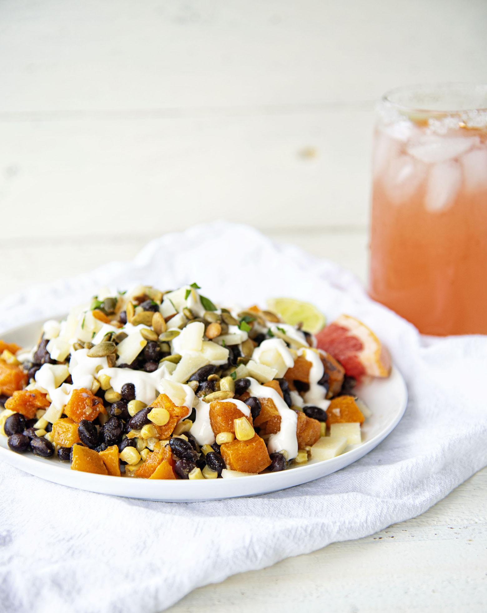 Black Bean Squash Corn Salad with Grapefruit Crema