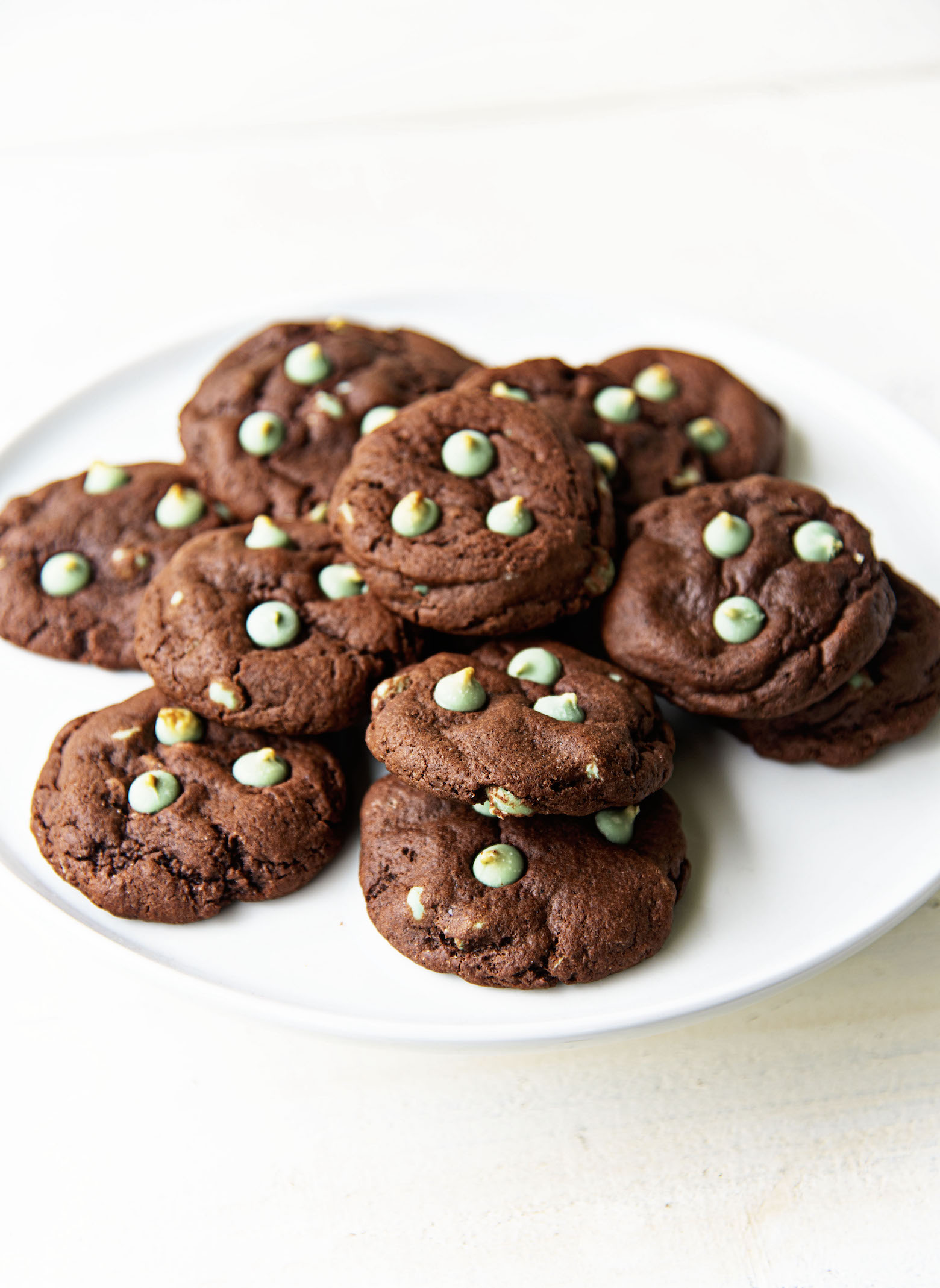 Plate full of Chocolate Mint Frappuccino Cookies.