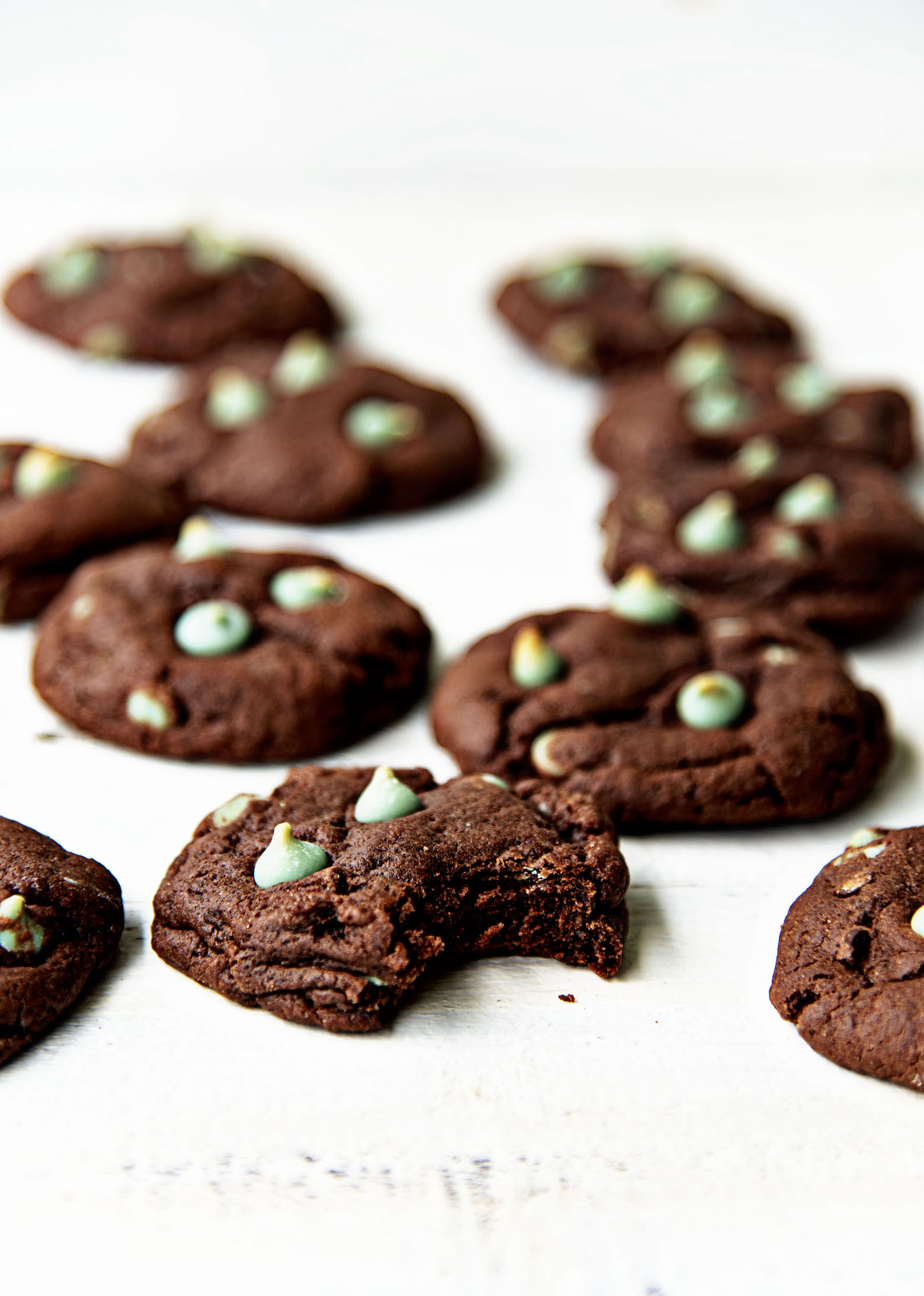 Chocolate Mint Frappuccino Cookies with bite out of one.