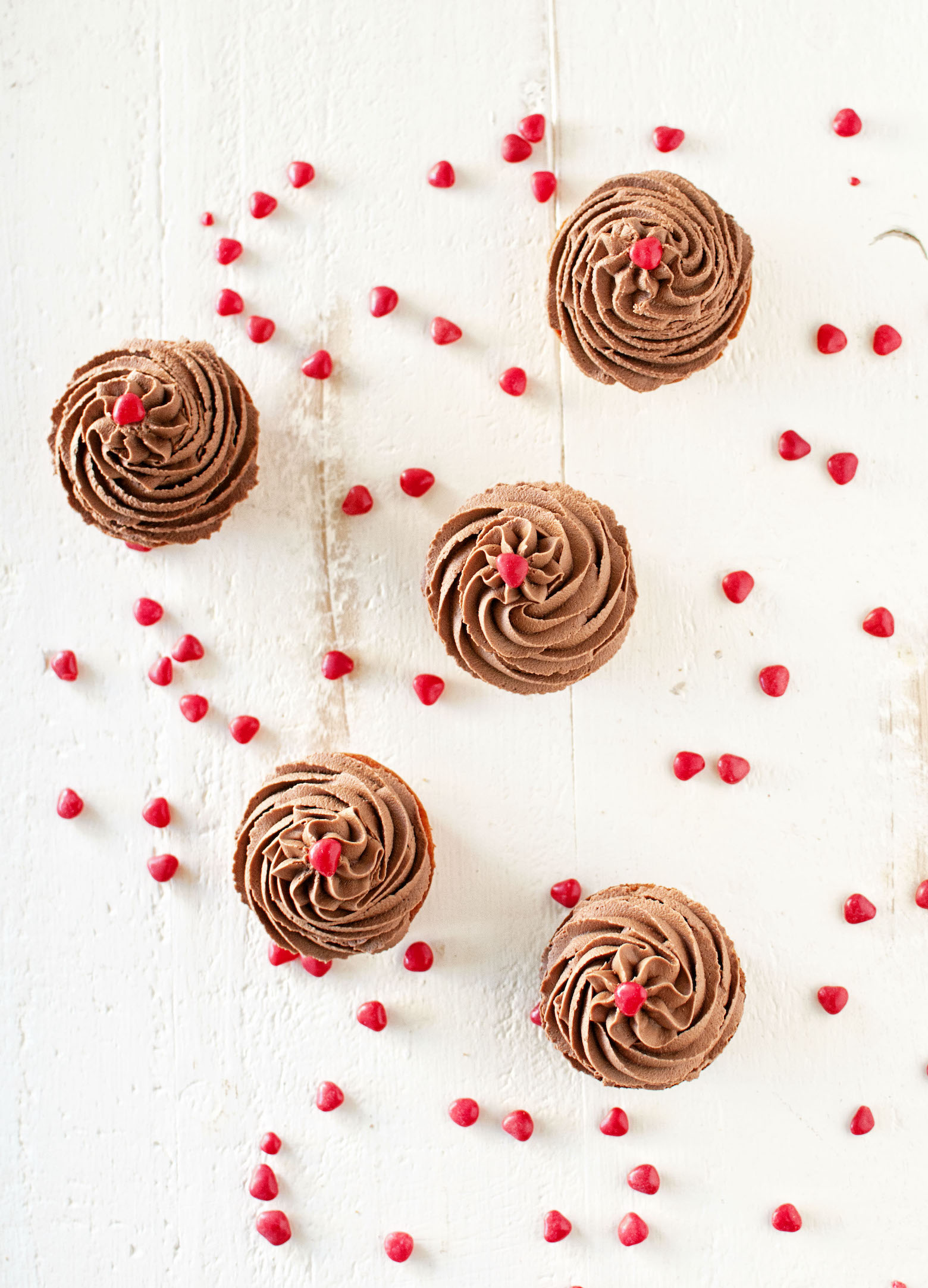 Cinnamon Red Hot Cupcakes with Fudge Frosting