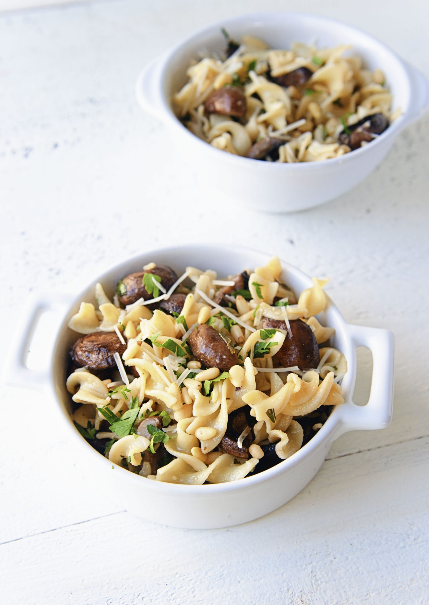 Two bowls of Roasted Mushroom Lemon Butter Pasta
