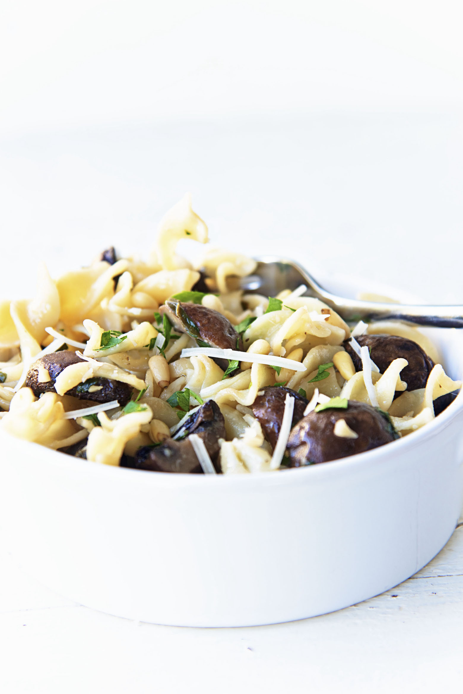Side view of Roasted Mushroom Lemon Butter Pasta