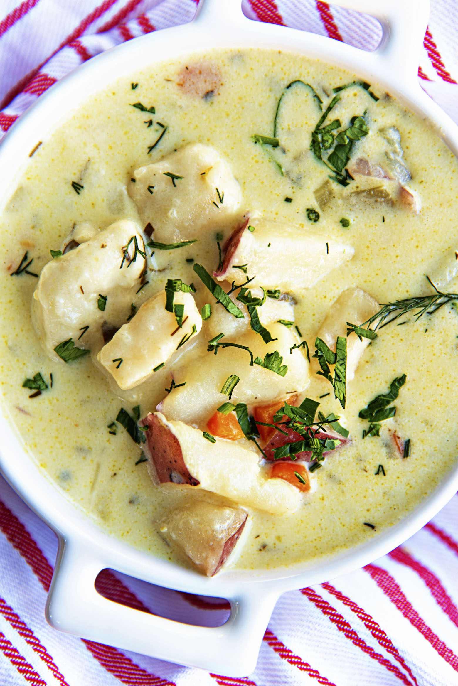 Close up shot of Vegetarian Parmesan Knoephla Soup