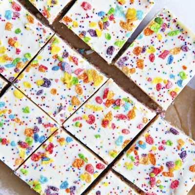 White Chocolate Fruity Pebbles Marshmallow Treats