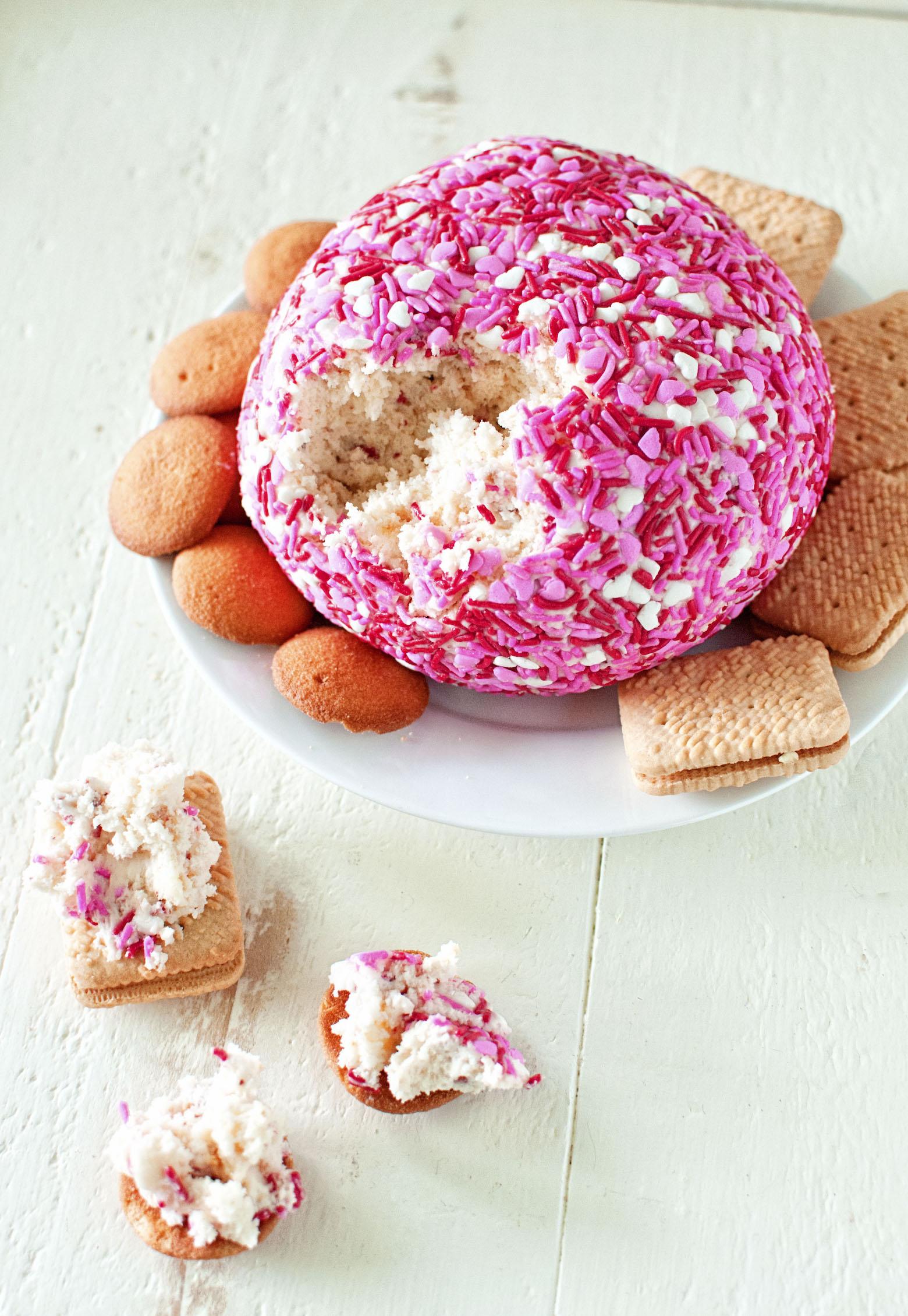 Angel Food Cake and Strawberry Cheesecake Cheeseball