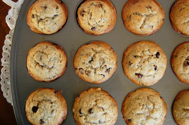 Overhead shot of Banana Espresso Chocolate Chip Muffins in pan