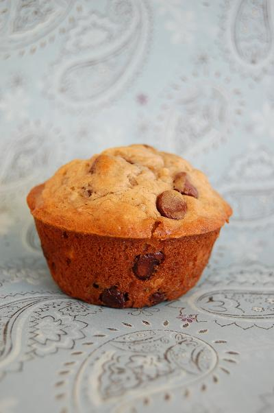 Side view of Banana Espresso Chocolate Chip Muffins