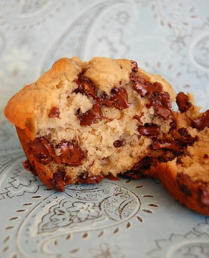Broken open Banana Espresso Chocolate Chip Muffins